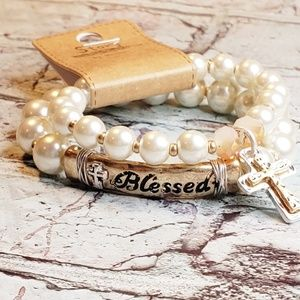 Jewelry - Faux pearl  blessed cross religious bracelets